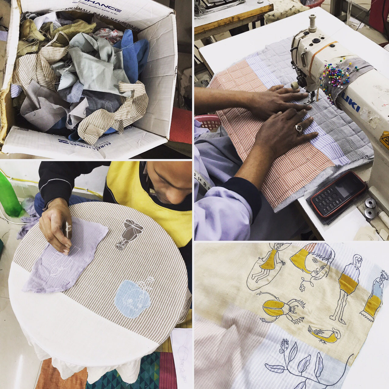 Clockwise from Top Left: Fabric scraps as they arrive at the  Doodlage    studio, followed by quilting, layering, patchwork, and even embroidery using scrap fabric.