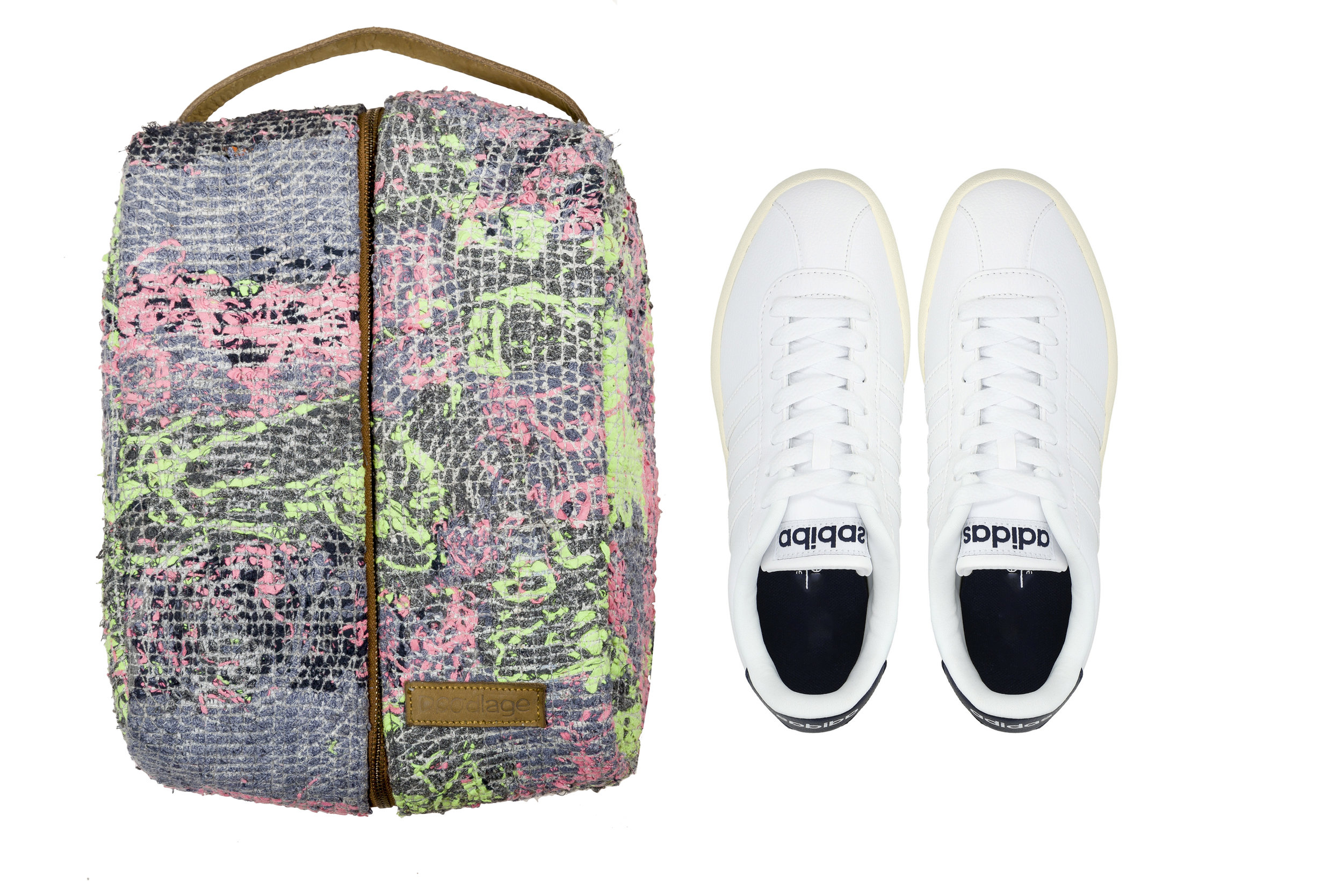 The smallest of fabric scraps at  Doodlage a re transformed into woven, patched accessories like these– Shoe covers from  Doodlage's  new accessories collection.
