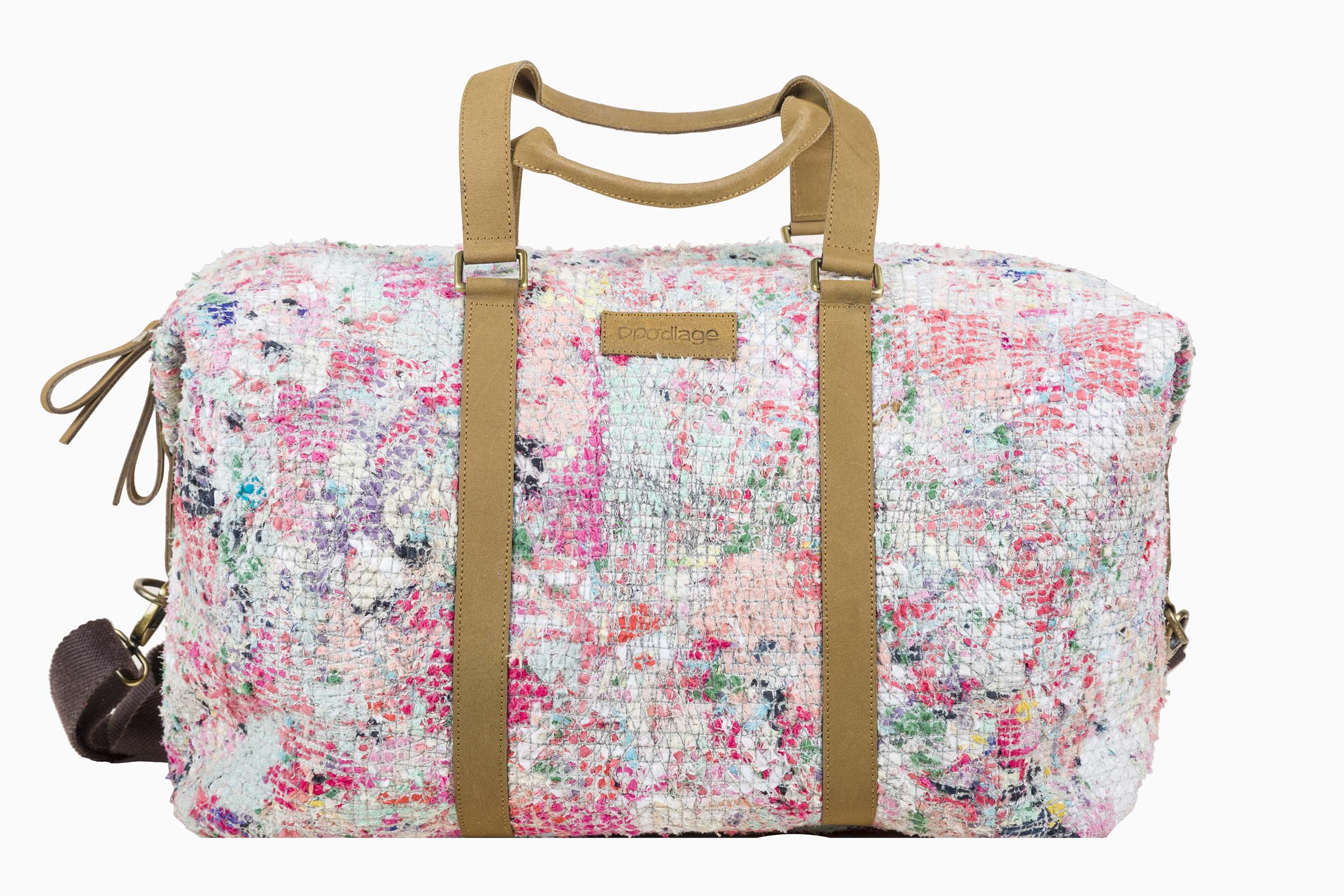 The smallest of fabric scraps at  Doodlage a re transformed into woven, patched accessories like these– A large bag from  Doodlage's  new accessories collection.