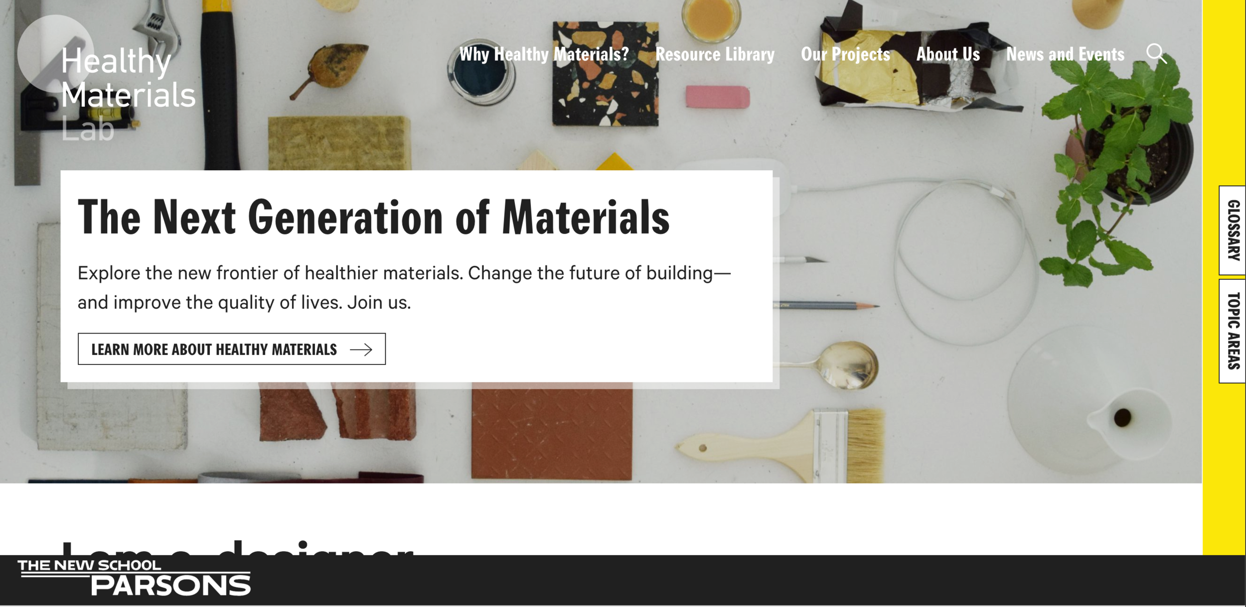 A glimpse of the  Healthy Materials Lab webpage,  that aggregates as many as 160 resources for design and building professionals.