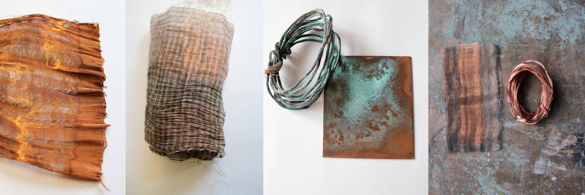 Woven and patinated textiles created from Copper Wire and Paper Yarn, by Neha Lad