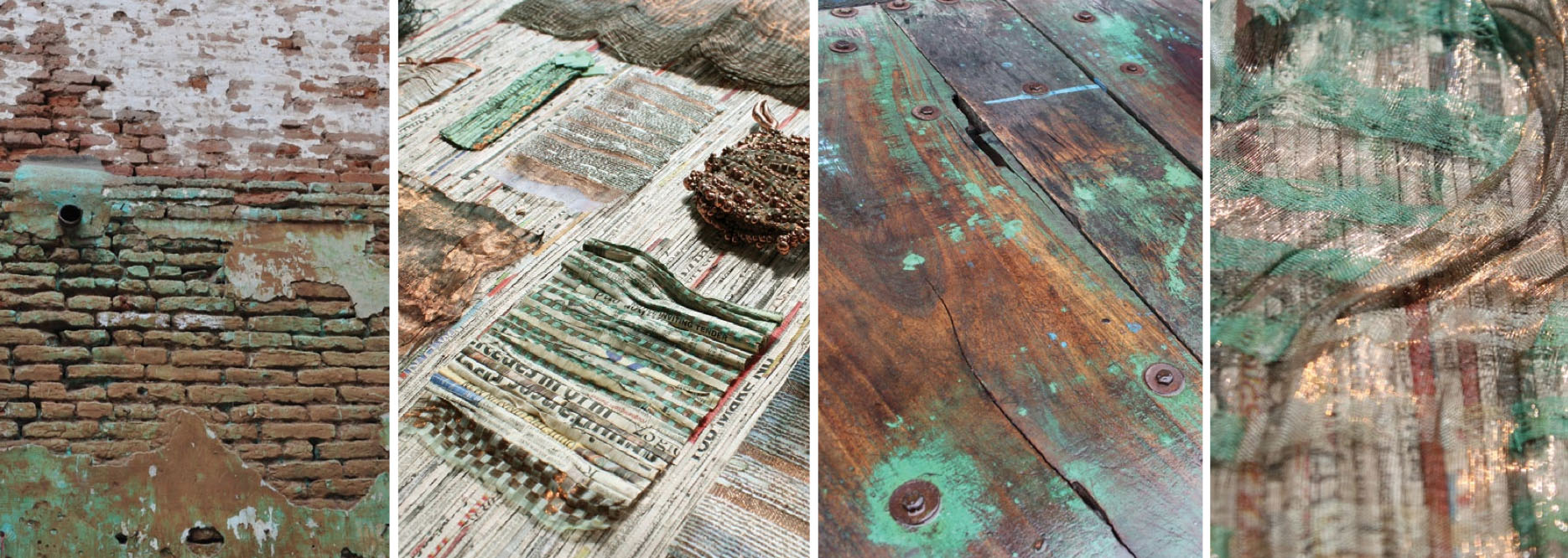 Drawing inspiration from the streets of Ahmedabad's Old City–with its aged surfaces and scraps–Neha Lad creates woven, patinated textiles from recycled copper wire and paper yarn