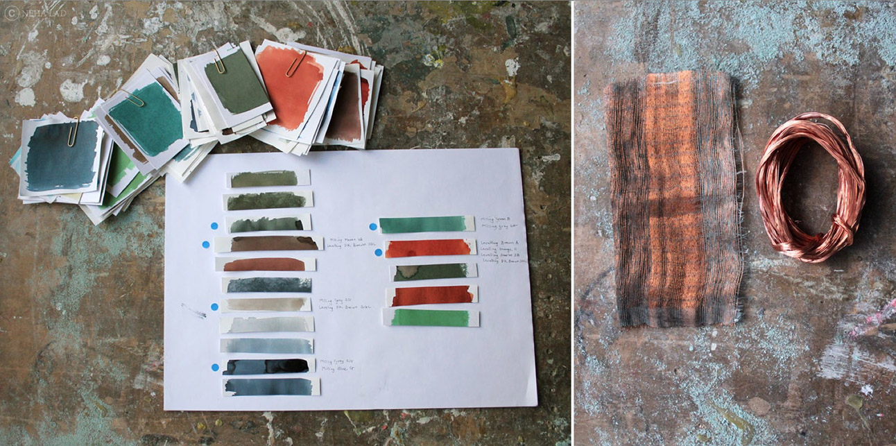 Neha Lad testing patination techniques and hues (left) for her woven copper and paper textiles (right)
