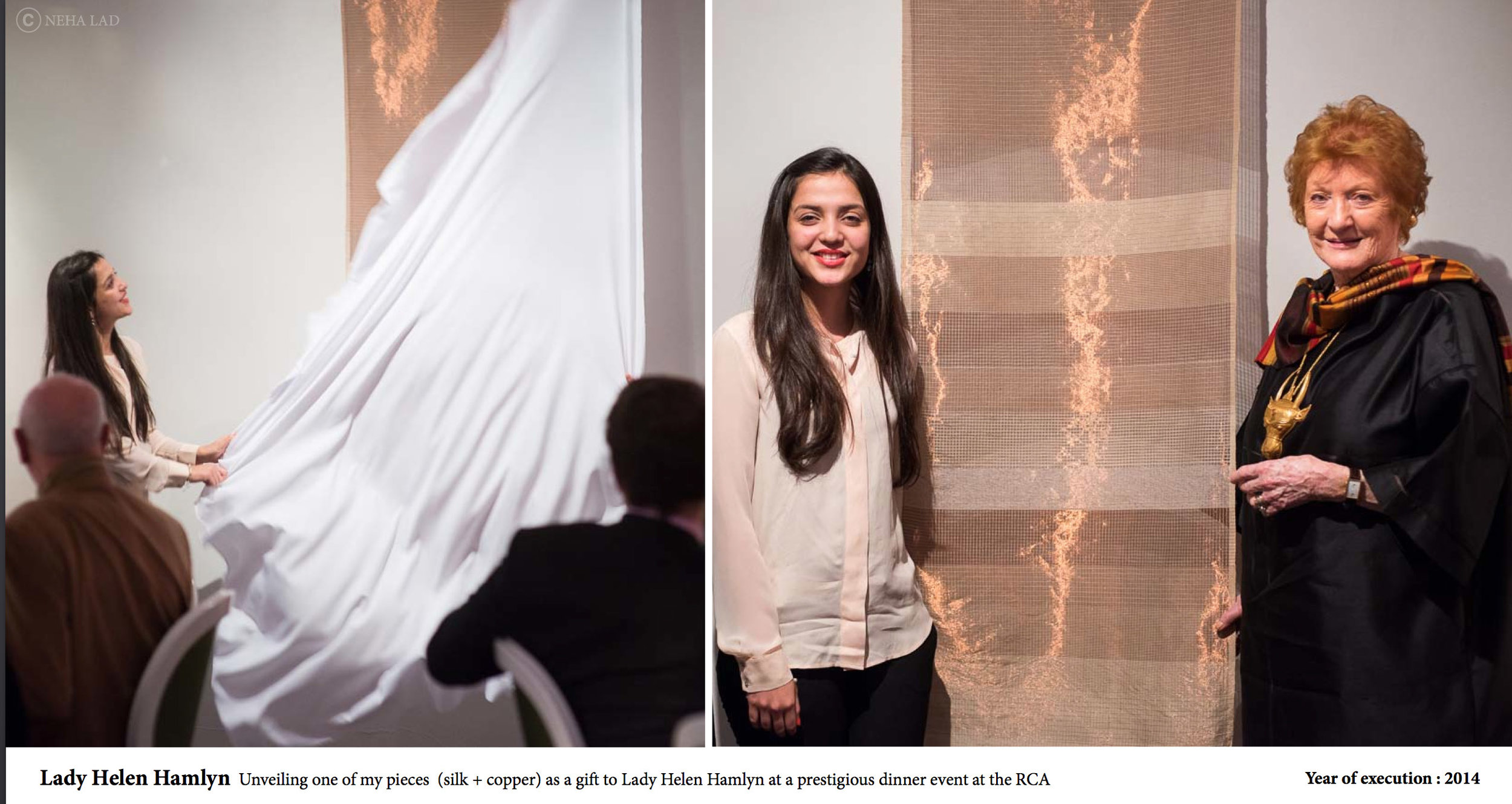 Neha Lad, presents one of her pieces (Silk+Copper) to Lady Helen Hamlyn.