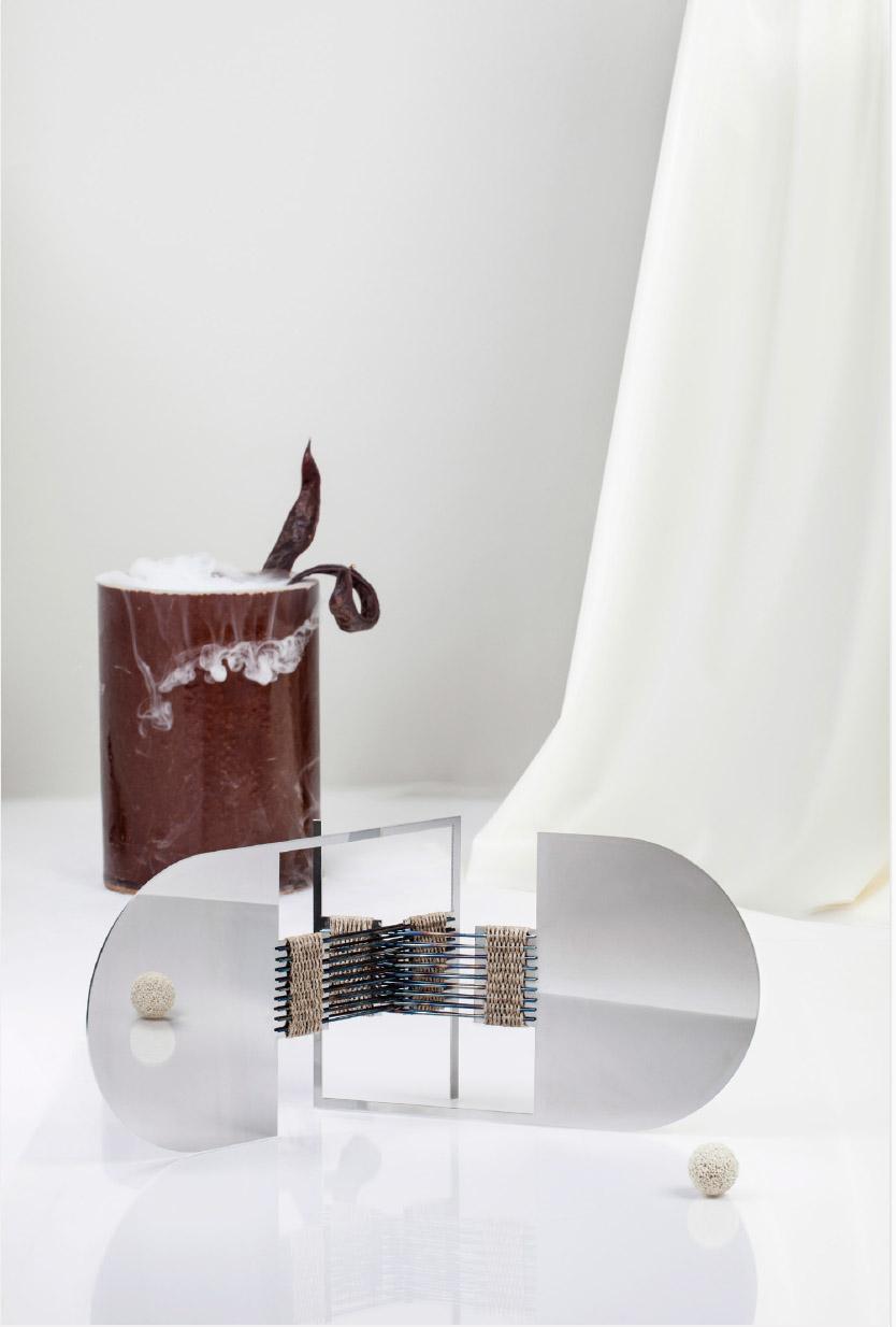 Woven Mirrors (In flamed steel)  by Ida Elke