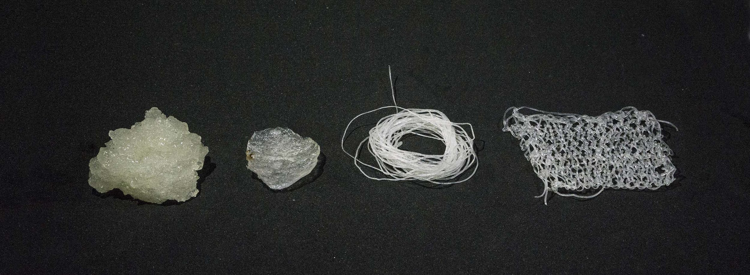 Seen here is AlgiKnit's transformation of their biomaterial from paste, to monofilament (yarn) and then a knit panel for bio-based textile.