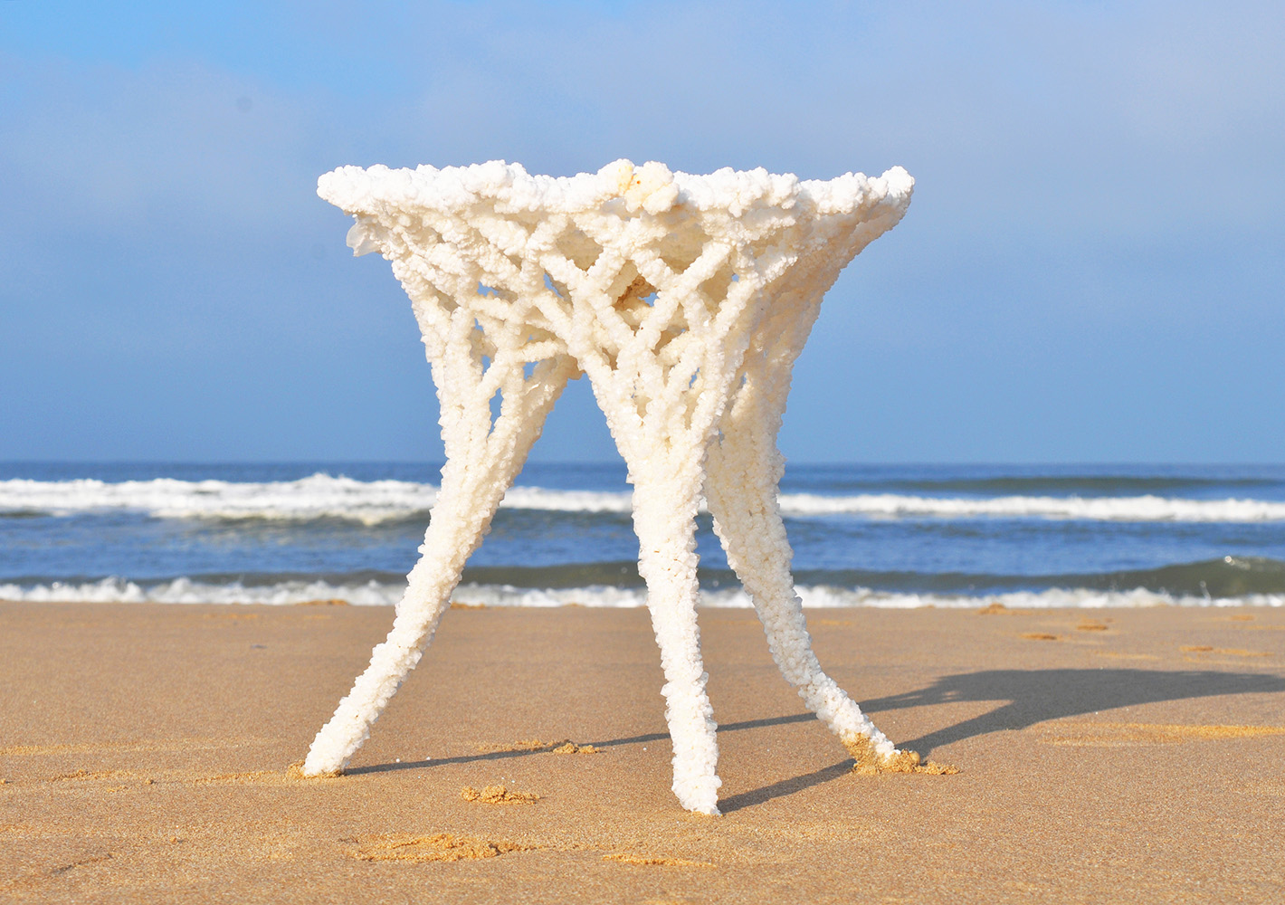 SEAt   by Karlijn Sibbel, a stool structure created by using Salt as a textile hardener.