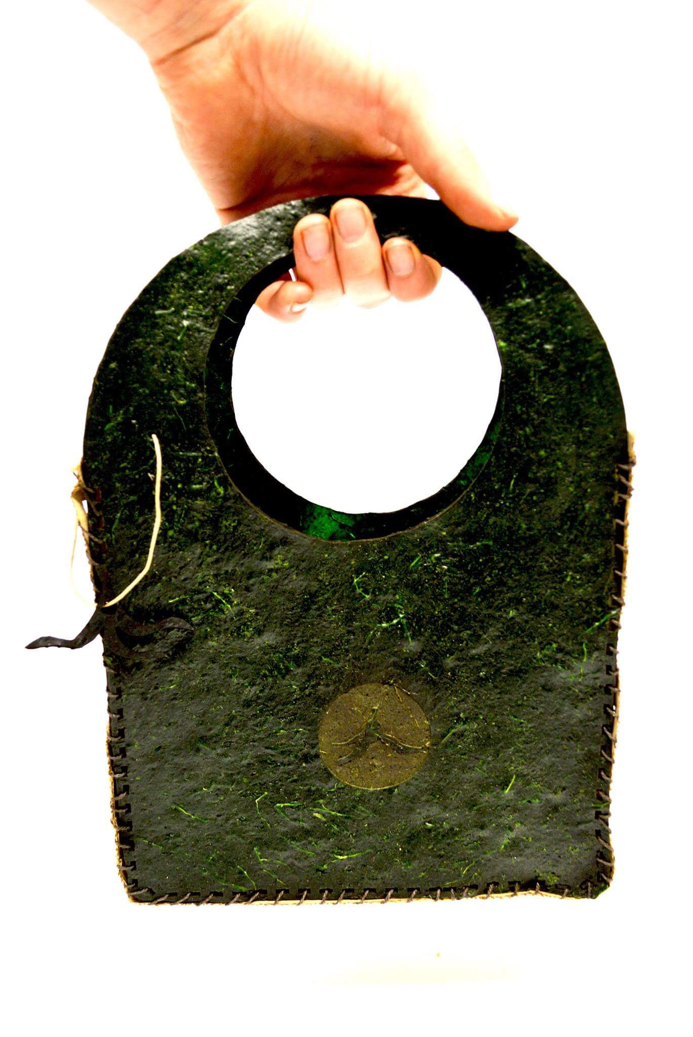 A bag created from Biomaterial produced by designer Lizzie Hall, as part of  Banana Lab