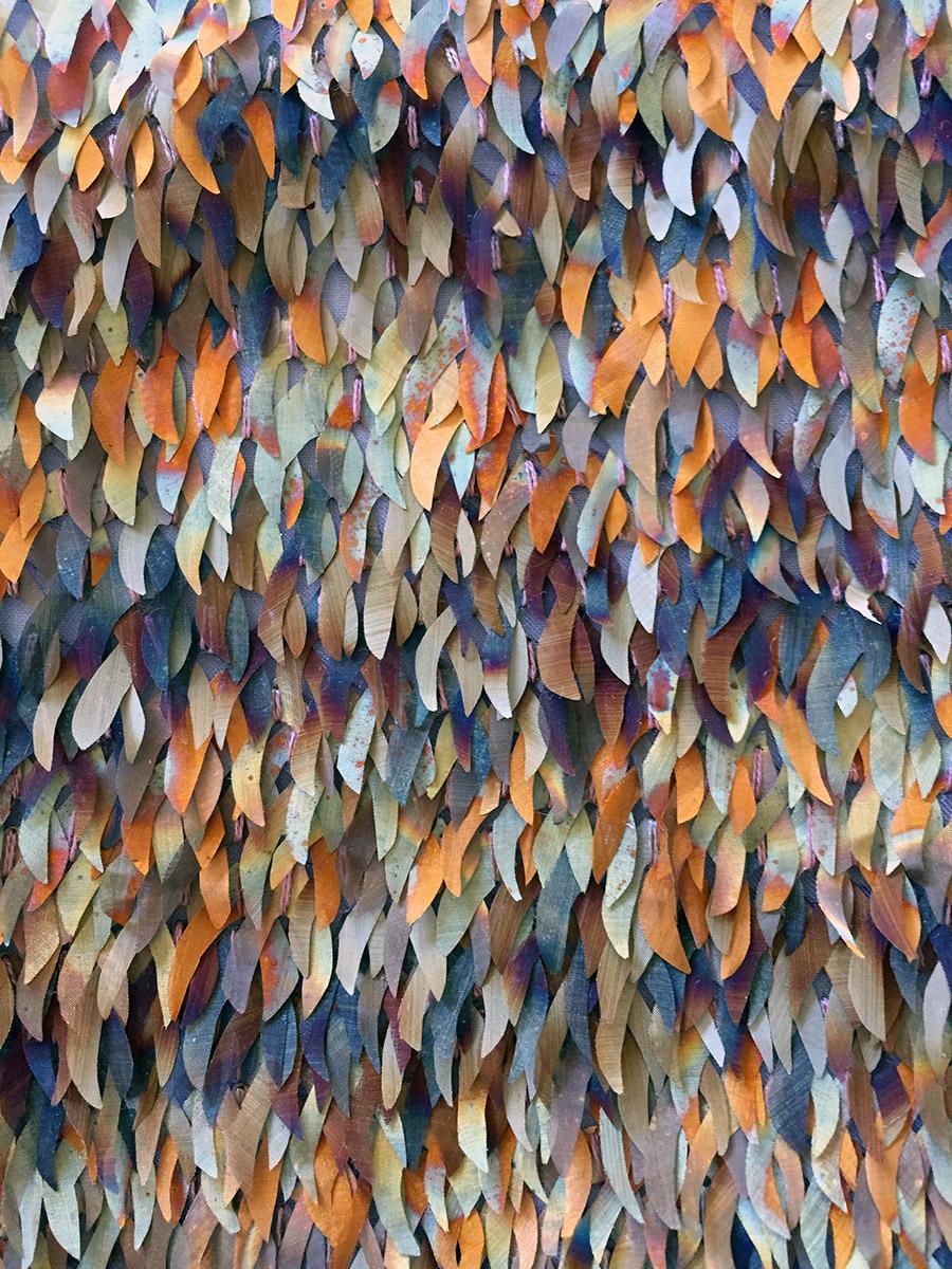 Patinated Metal Applique  on fabric, by Hannah Croft, MUUNA,