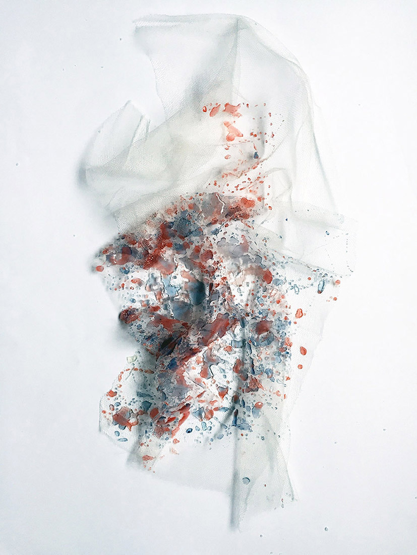 Resin surface applied to silk tulle , by Hannah Croft, MUUNA
