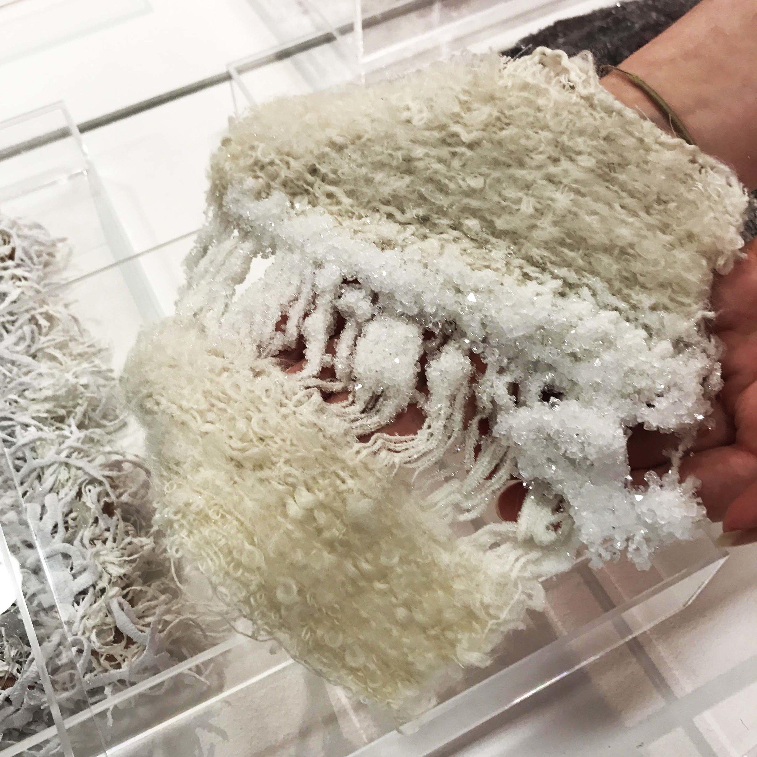 Handwoven fabric with grown crystal embellishment , by Hannah Croft, MUUNA