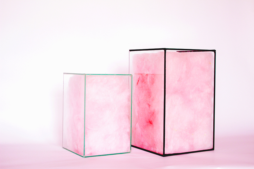The Suikerspin Boxes by Martijntje Cornelia act as furniture and interior objects, while encasing candy floss