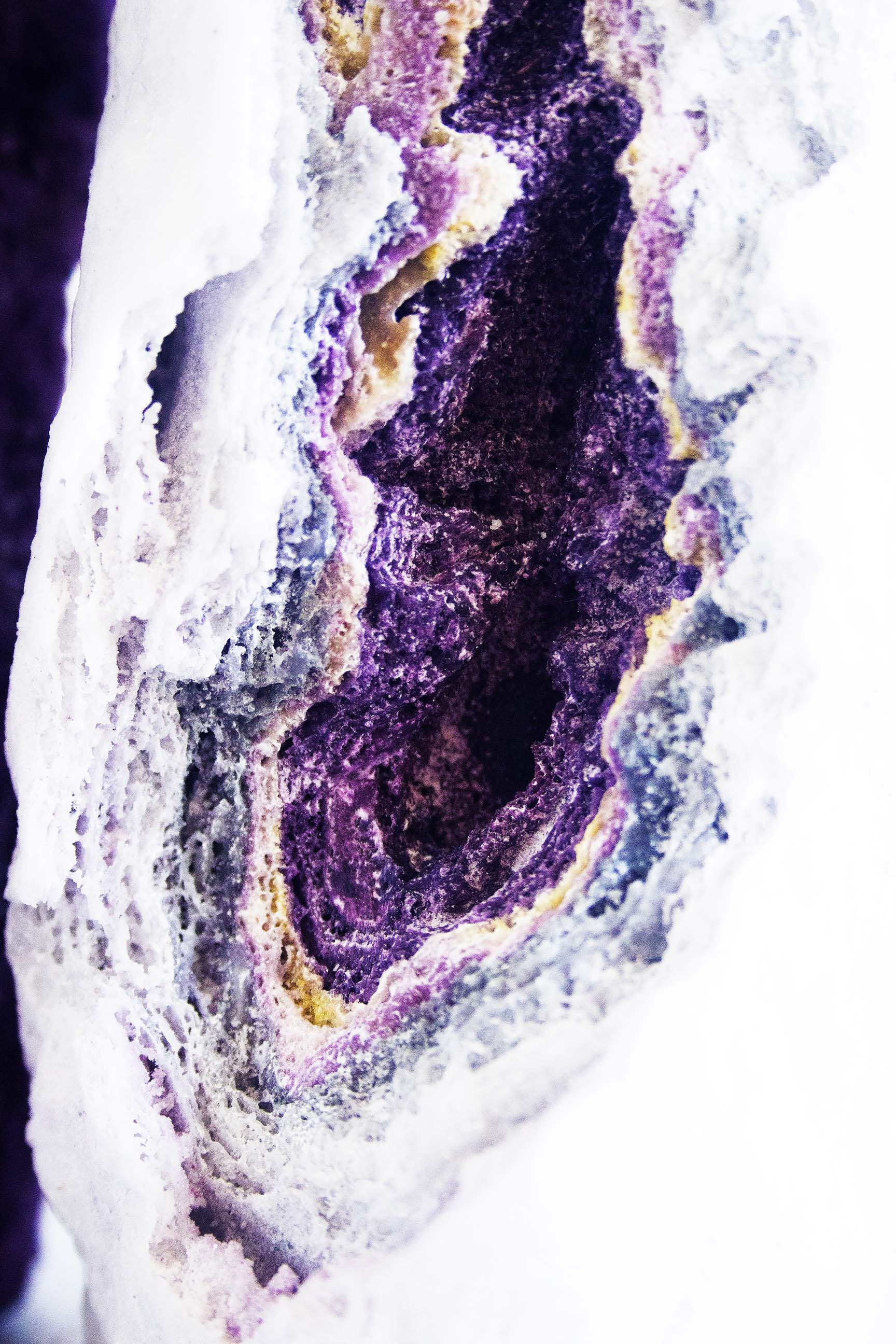 Material detail of a layered candy floss vase by Martijntje Cornelia
