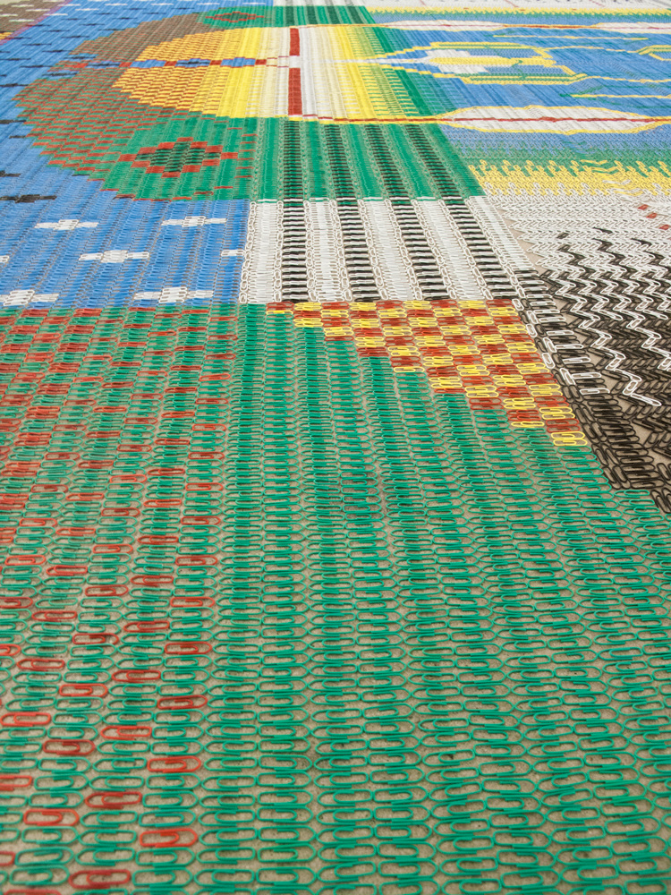 Detail of Paperclip Carpet 2, by  We Make Carpets , seen at the exhibition Bend and Stretch at  Diagonale , Montreal, Canada