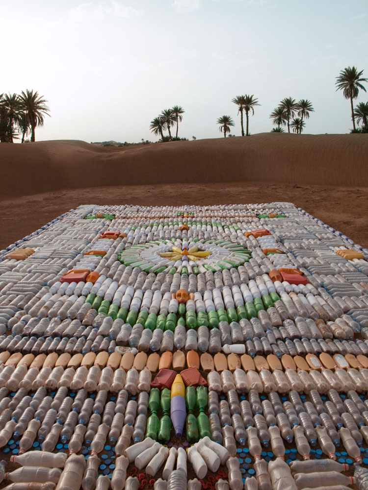 Bottle Carpet, created by  We Make Carpets , for the Taragalte Festival 2012, M'hamid, Morocco