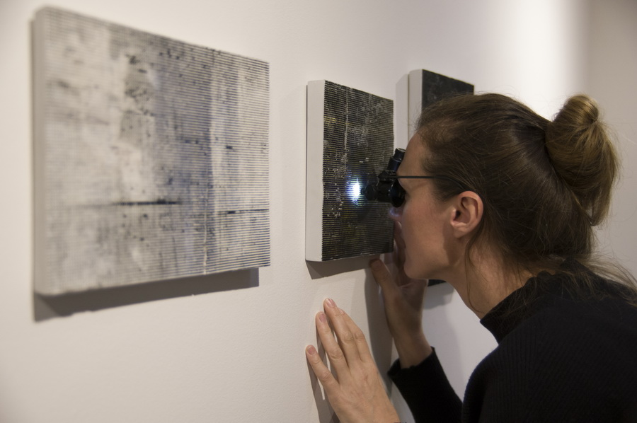 Wall panels by Helen Johannessen being viewed with optical glasses. DavidXGreenPhotography 2017
