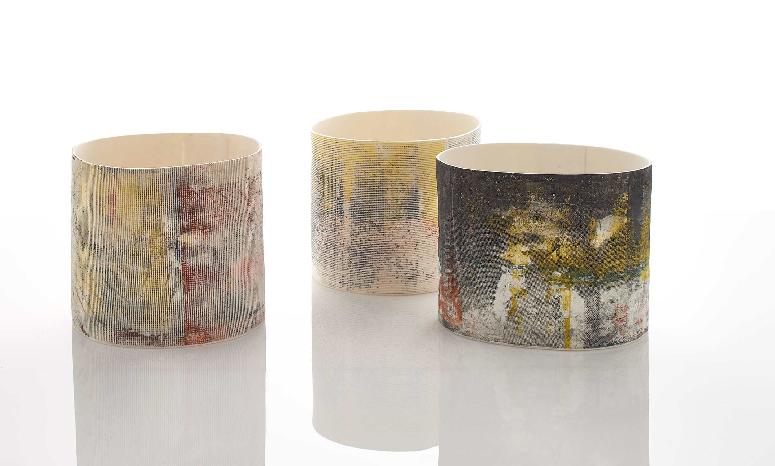 Textures of Time  Drum   Vessels by Helen Johannessen