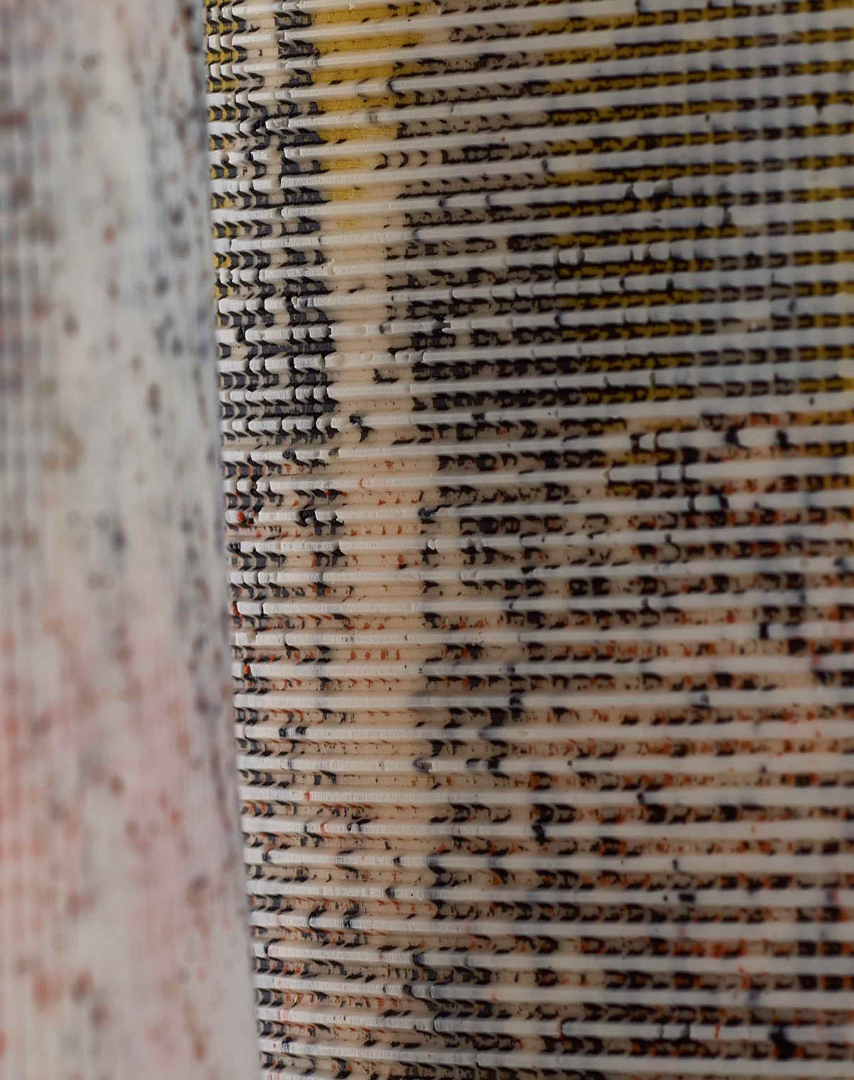 A closeup of surfaces from  Textures of Time  by Helen Johannessen