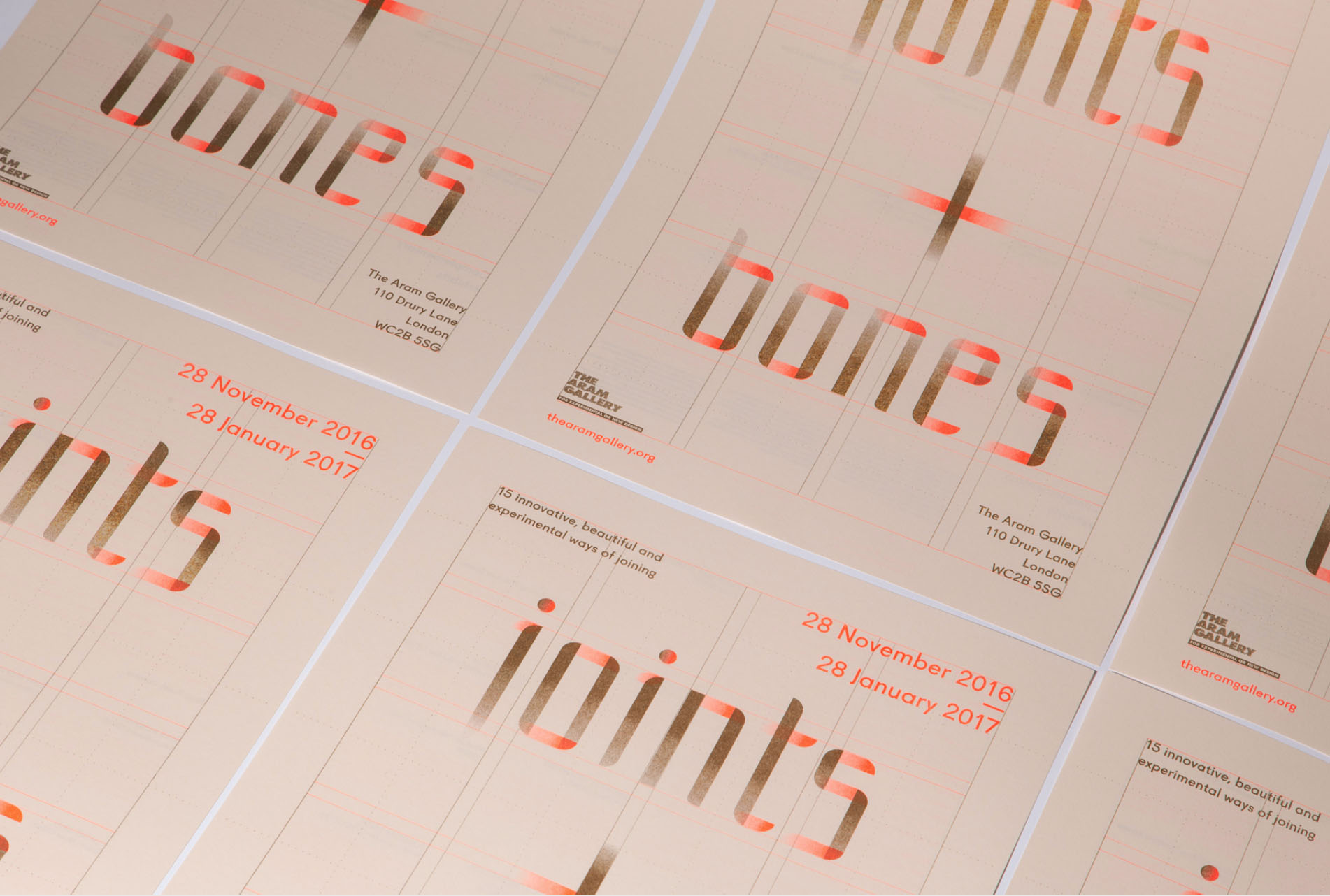 Brand and Invite design for Joints + Bones at the Aram Gallery, by  Design&Practice