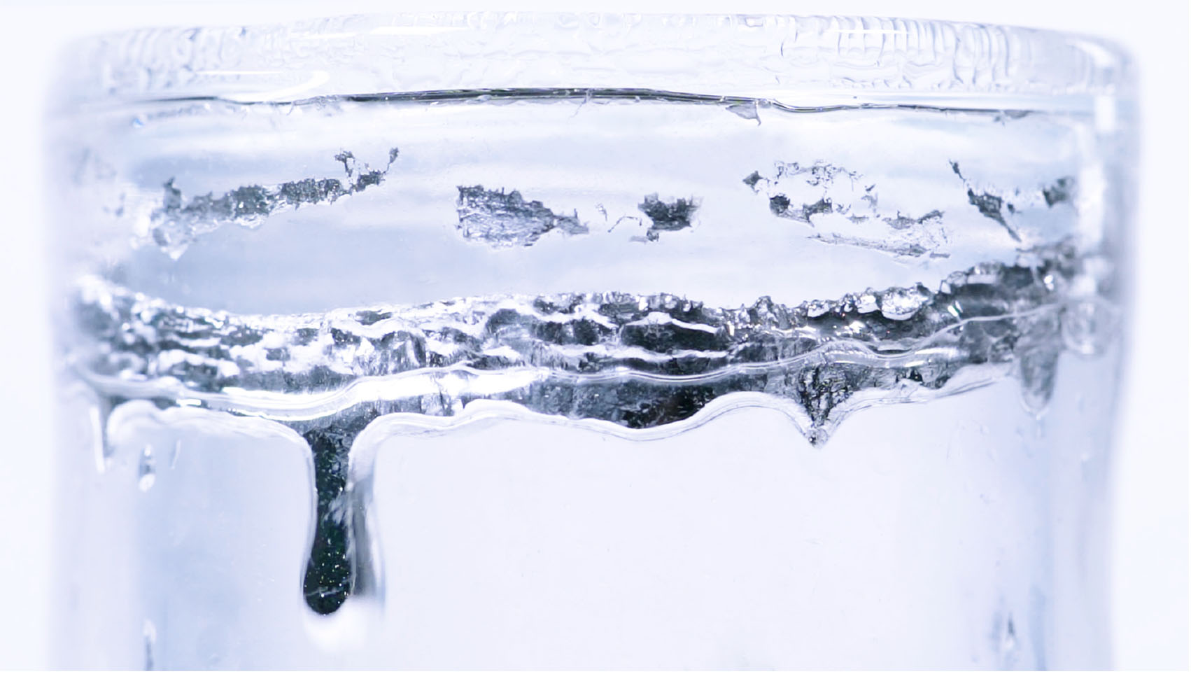 Gallium transforms from solid to liquid state, when hot water is poured into a double-layered glass cup made by Sara Chyan