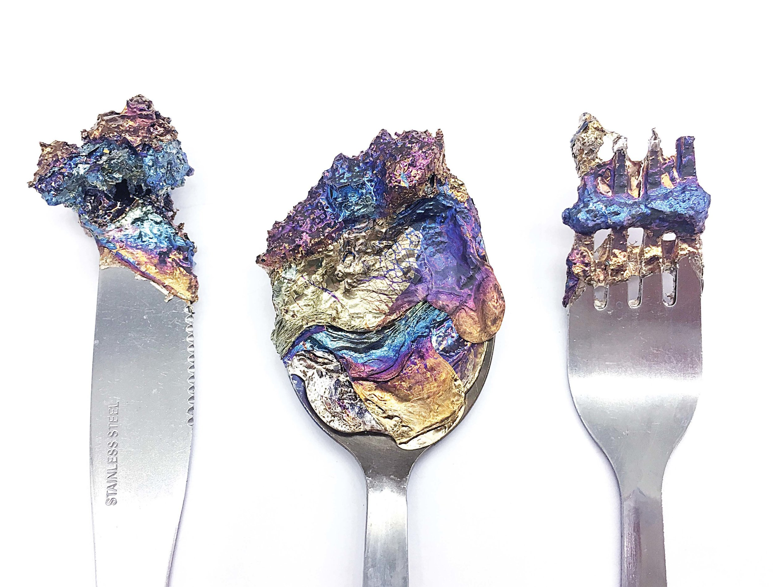 Artifacts from Sara Chyan's  Emotional Jewelry  collection; Materiality–Bismuth and Stainless Steel