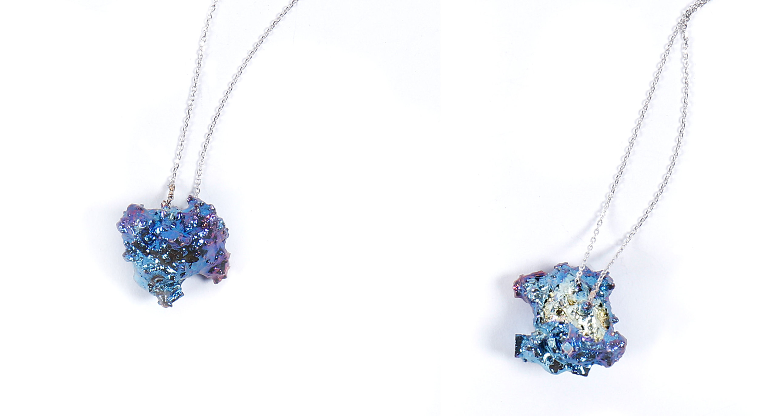 Necklaces from Sara Chyan's  Emotional Jewelry  collection; Materiality–Bismuth and 925 Sterling Silver
