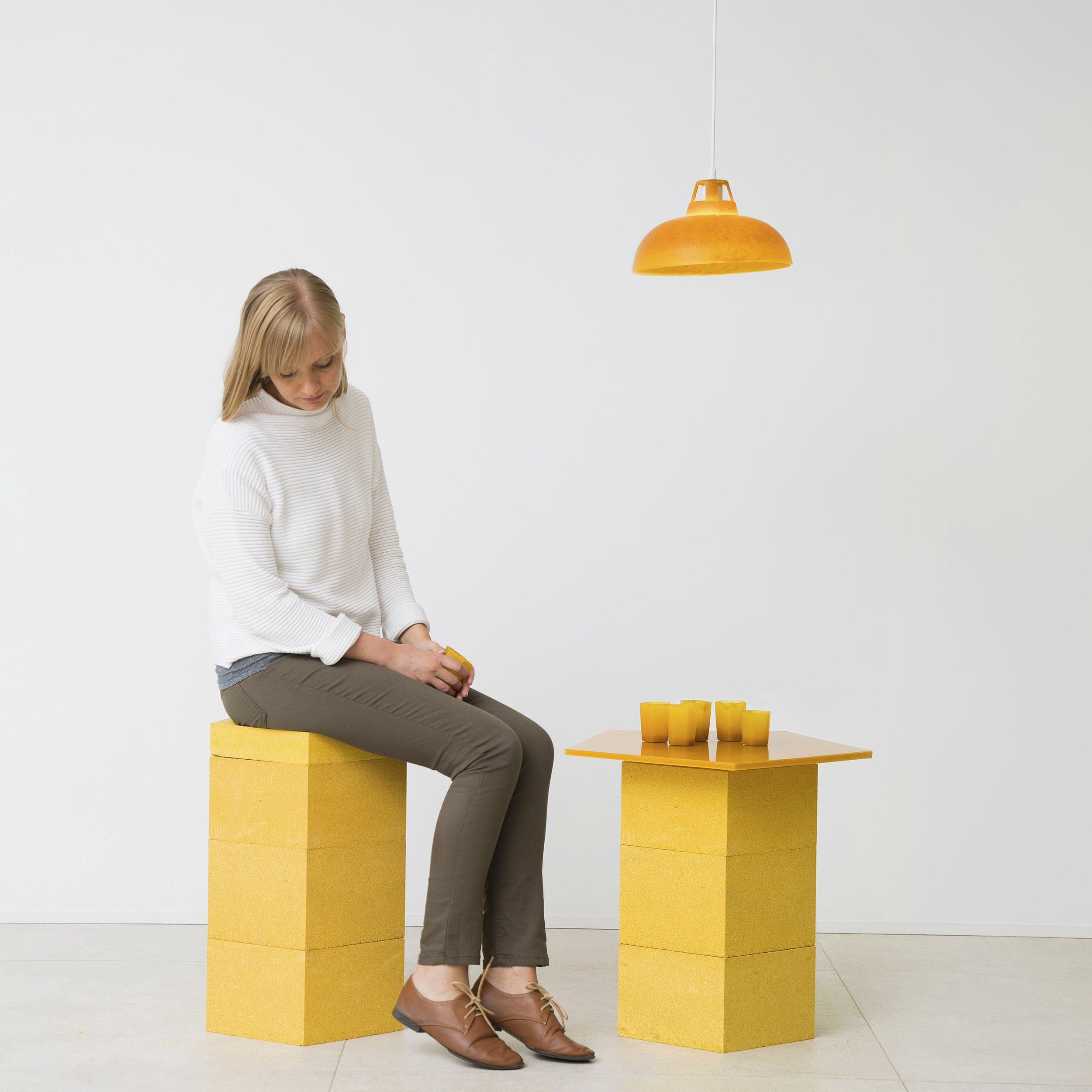Lamp, Stool, Table and smaller product types, all generated from materials in  The Peel Project  by Venn Reactor
