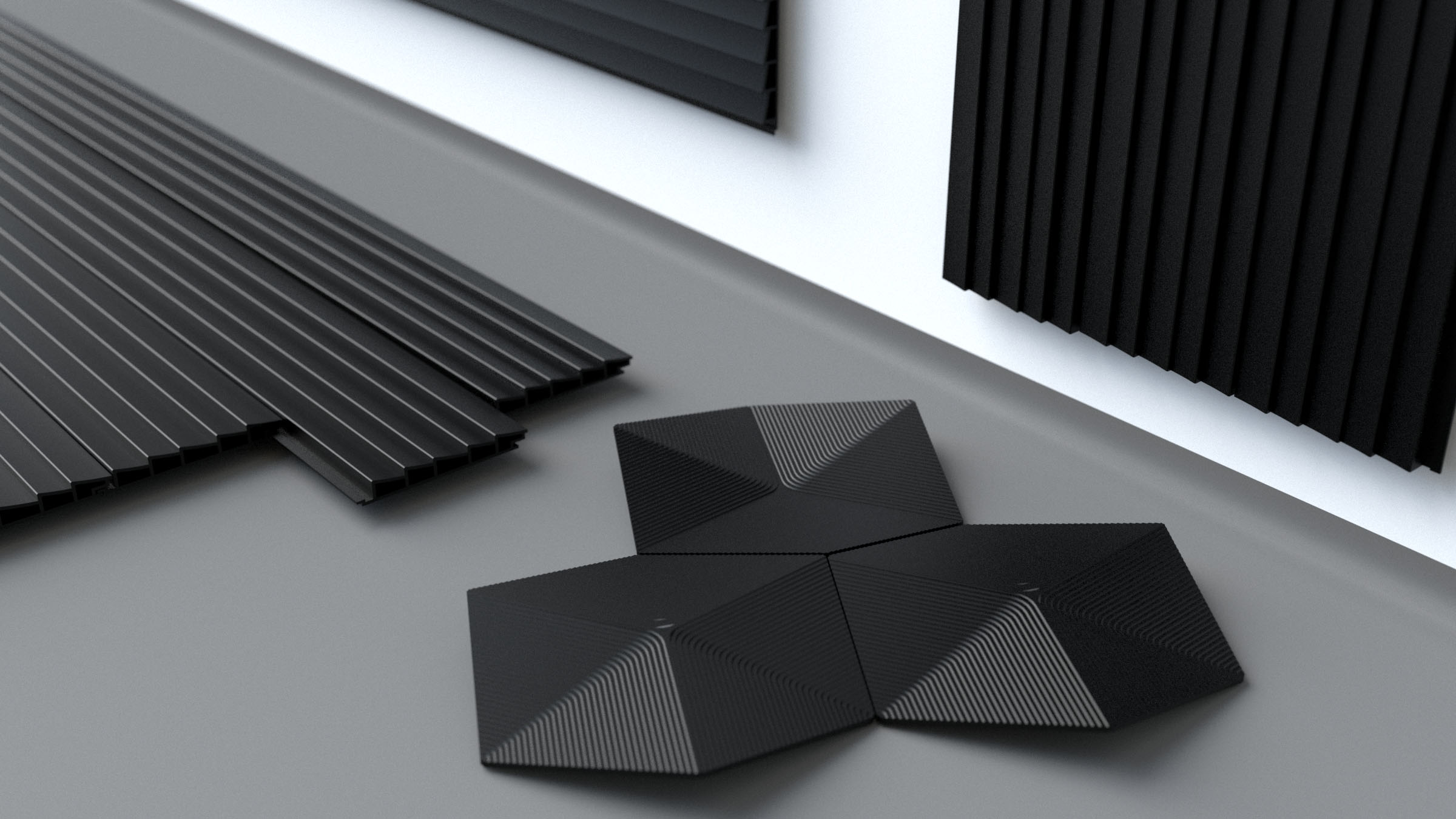 Varied architectural forms and modular panels cast with the thermoplastic material  Made of Air