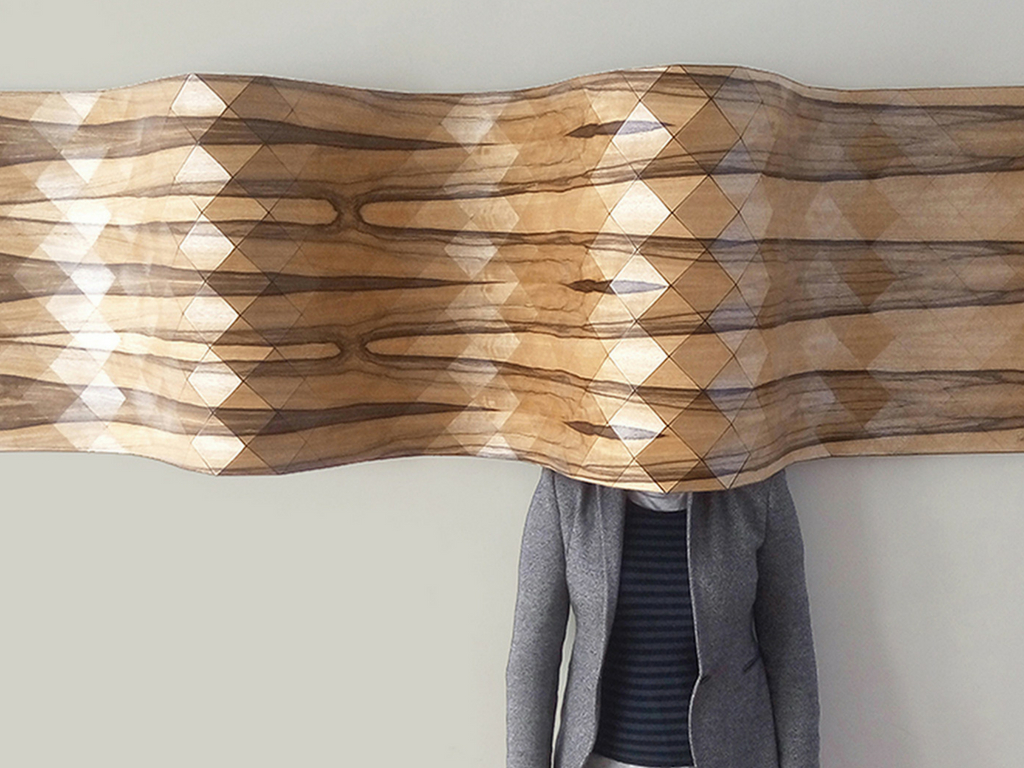 Geometric Wood textiles as wall sculptures by Tesler+Mendelovitch