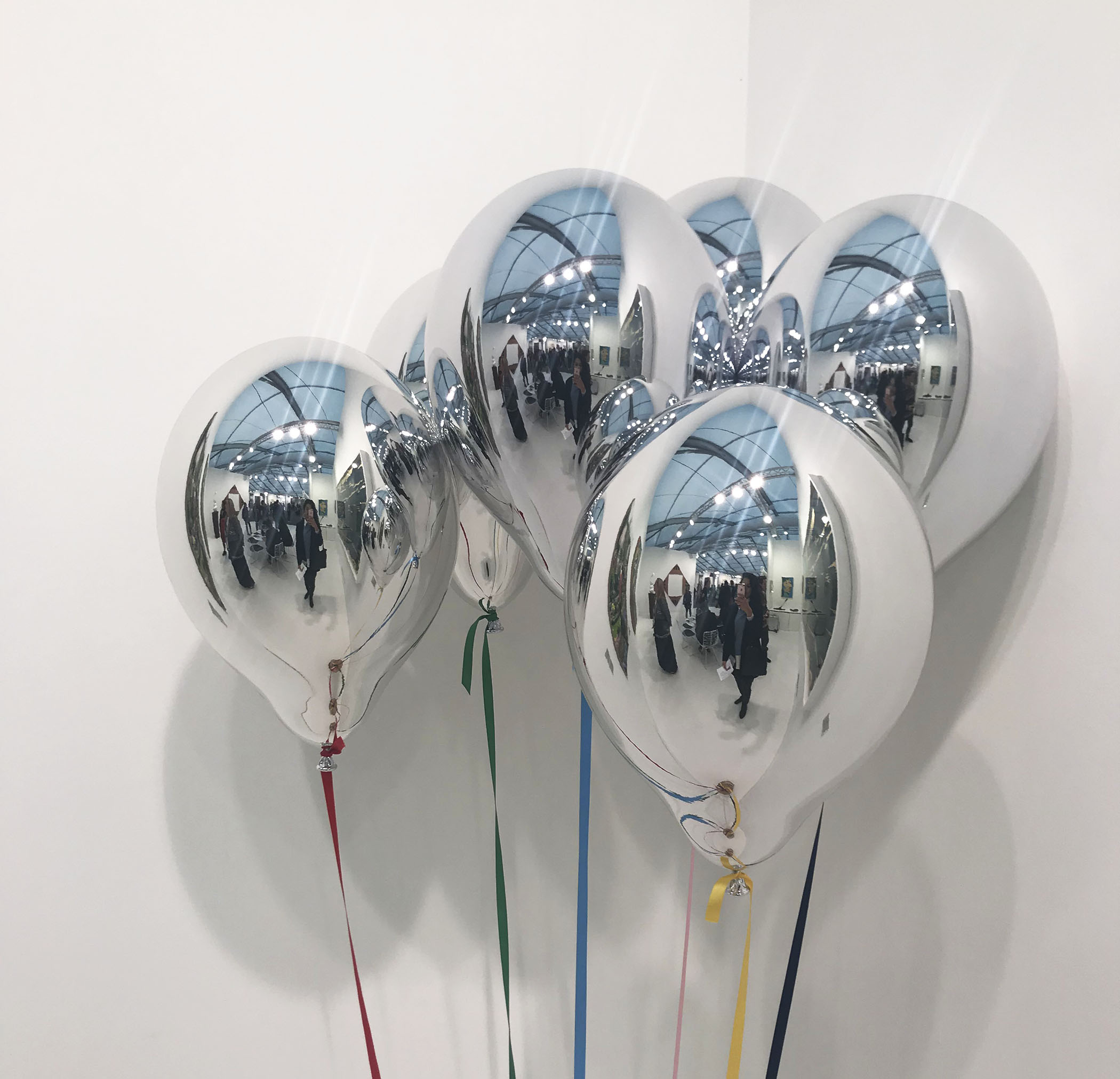 Jeppe Hein, ' Fly me to the Moon ', Chrome-plated balloons, seen at Frieze Art Fair 2018