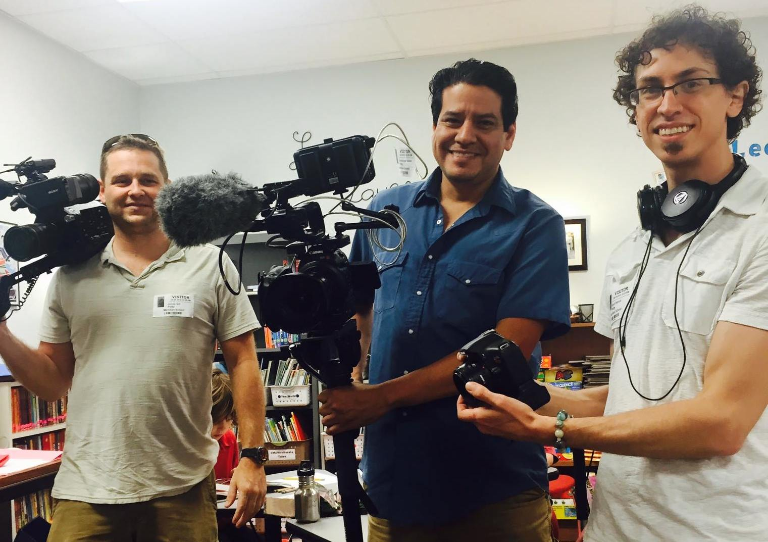 Film crew Mike Magil and Lupe Valdez, with director Ryan Hetrick in Austin, TX.