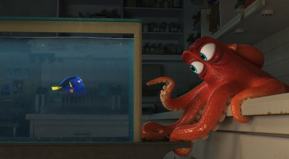Ellen DeGeneres voices Dory and Ed O'Neill voices Hank in Andrew Stanton and Angus MacLane's  Finding Dory