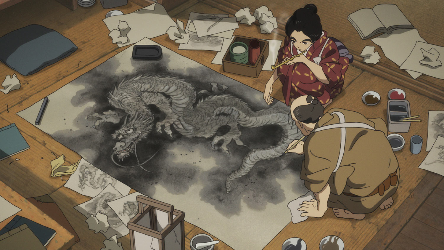 O-Ei and her father in  Miss Hokusai