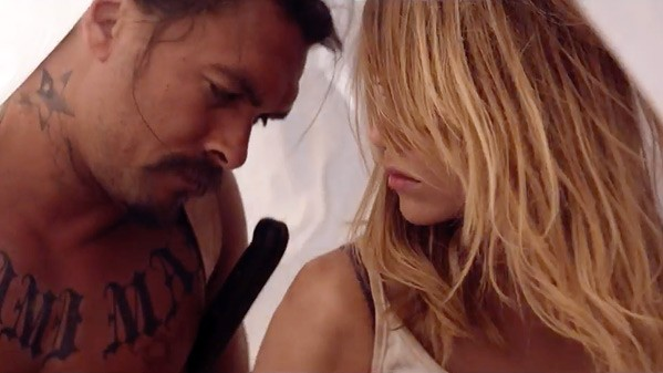 Miami Man (Jason Momoa) and Arlen (Suki Waterhouse) start to fall for each other in Ana Lily Amirpour's cannibal love story  The Bad Batch.
