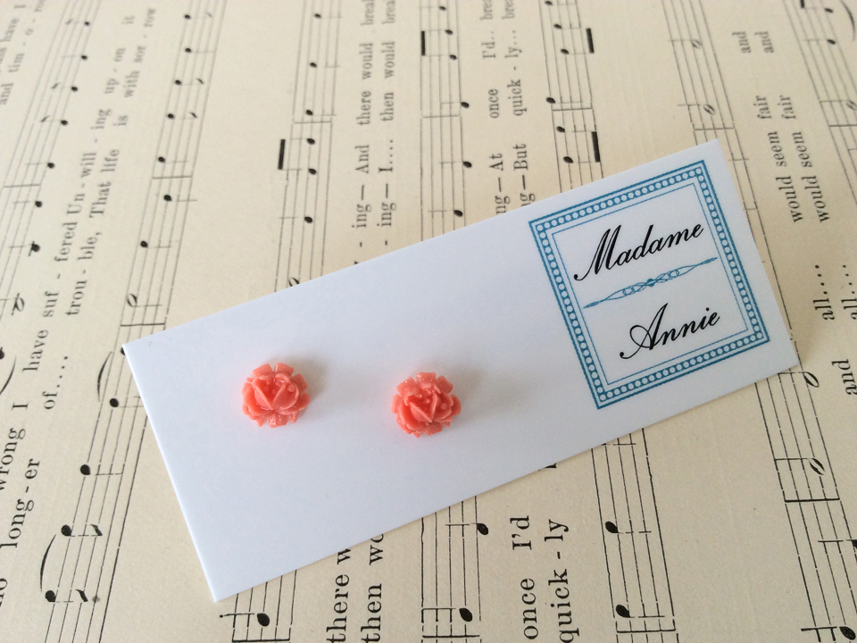 e-stud60-co<br>coral tiny roses</br>