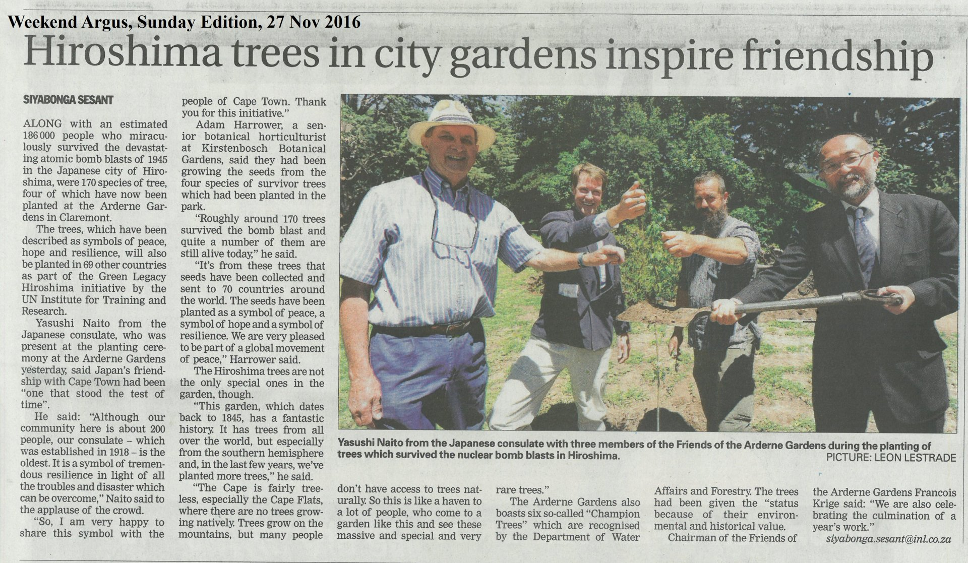 Hiroshima Tree planting - Arderne, Argus newspaper article2.jpg