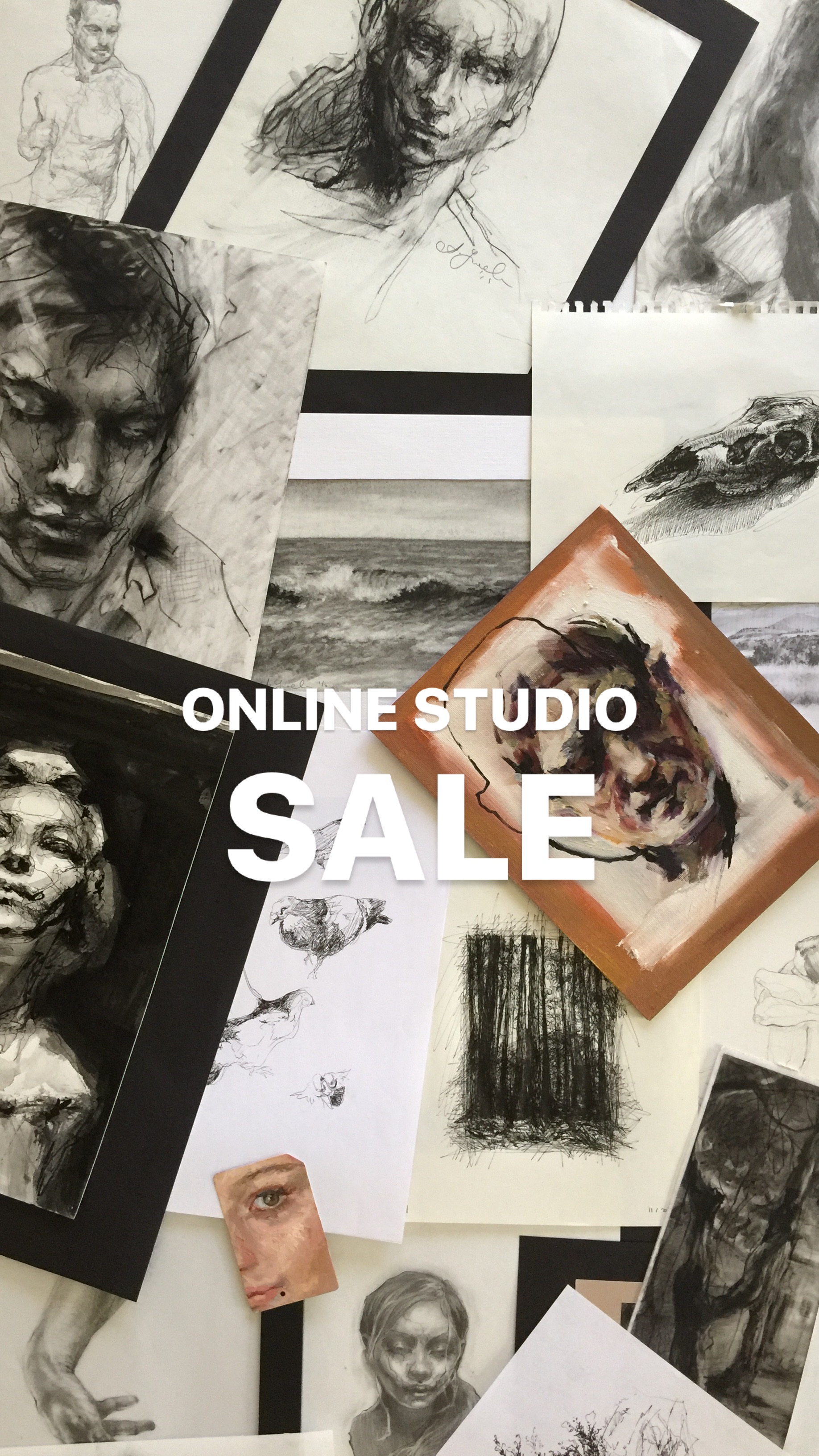 Online Studio Sale.  This is collection of small works for sale - drawings and paintings - studies that are not bound for gallery shows (and their prices reflect that). Artwork is shipped directly from my studio with no extra cost to you. Send me a message through CONTACT form to inquire about a particular piece.    If you are interested in larger drawings and paintings please look around my website and social media sites or ask me more questions!  Thanks for looking!