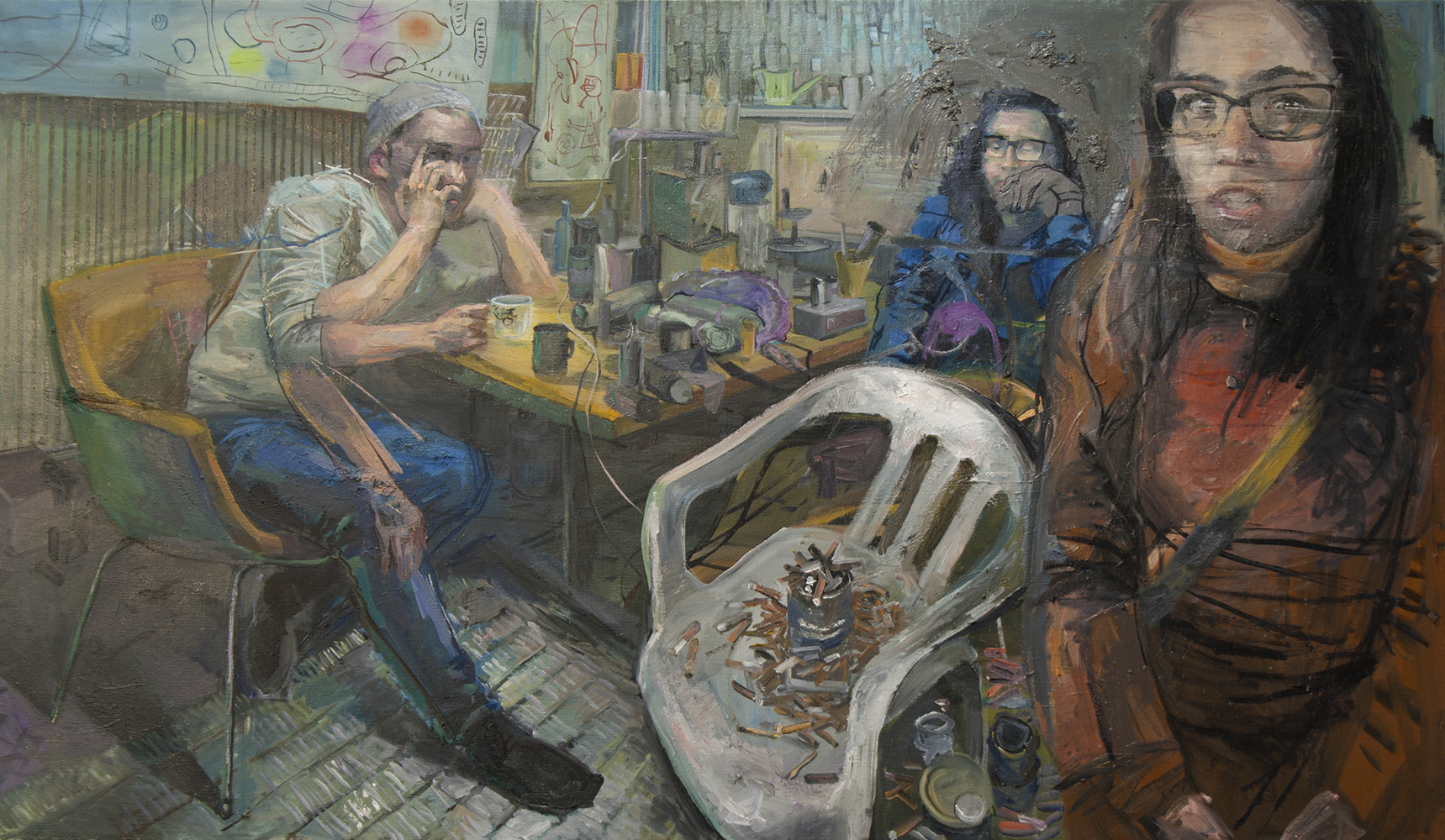 The studio 2017 86 x150cm Oil on canvas
