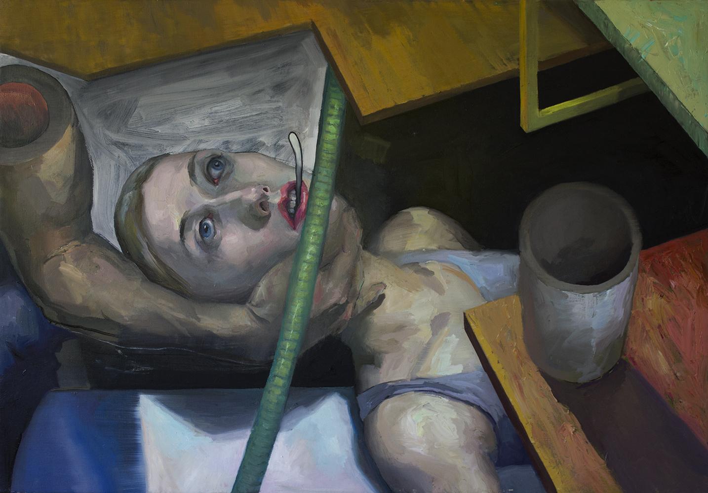 """""""Grey tubes"""" 2018 Oil on canvas 65 x 89cm"""