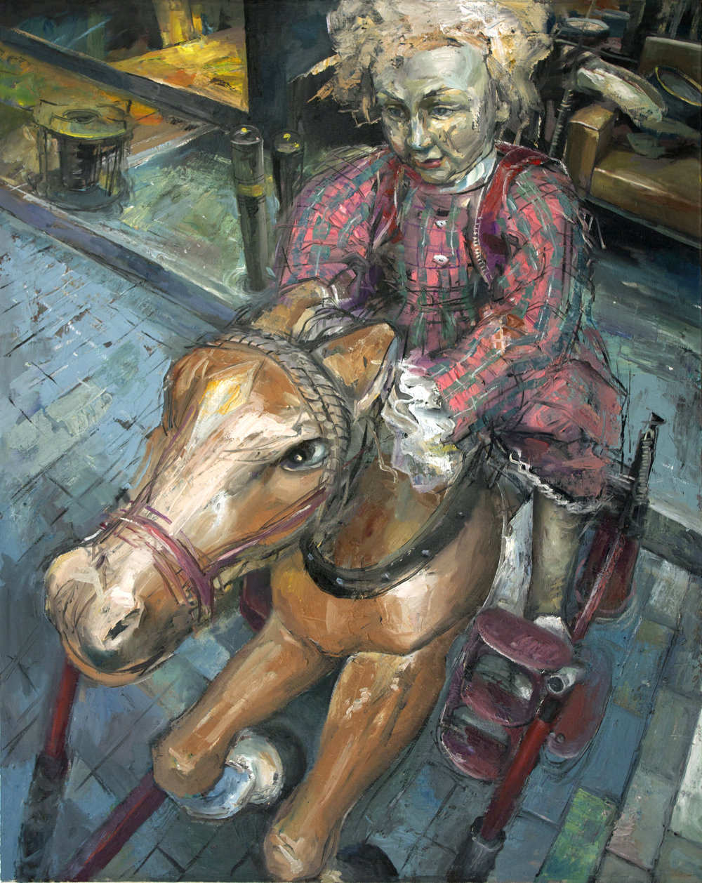 Mechanical horse and rider 2019  99x79cm oil on canvas