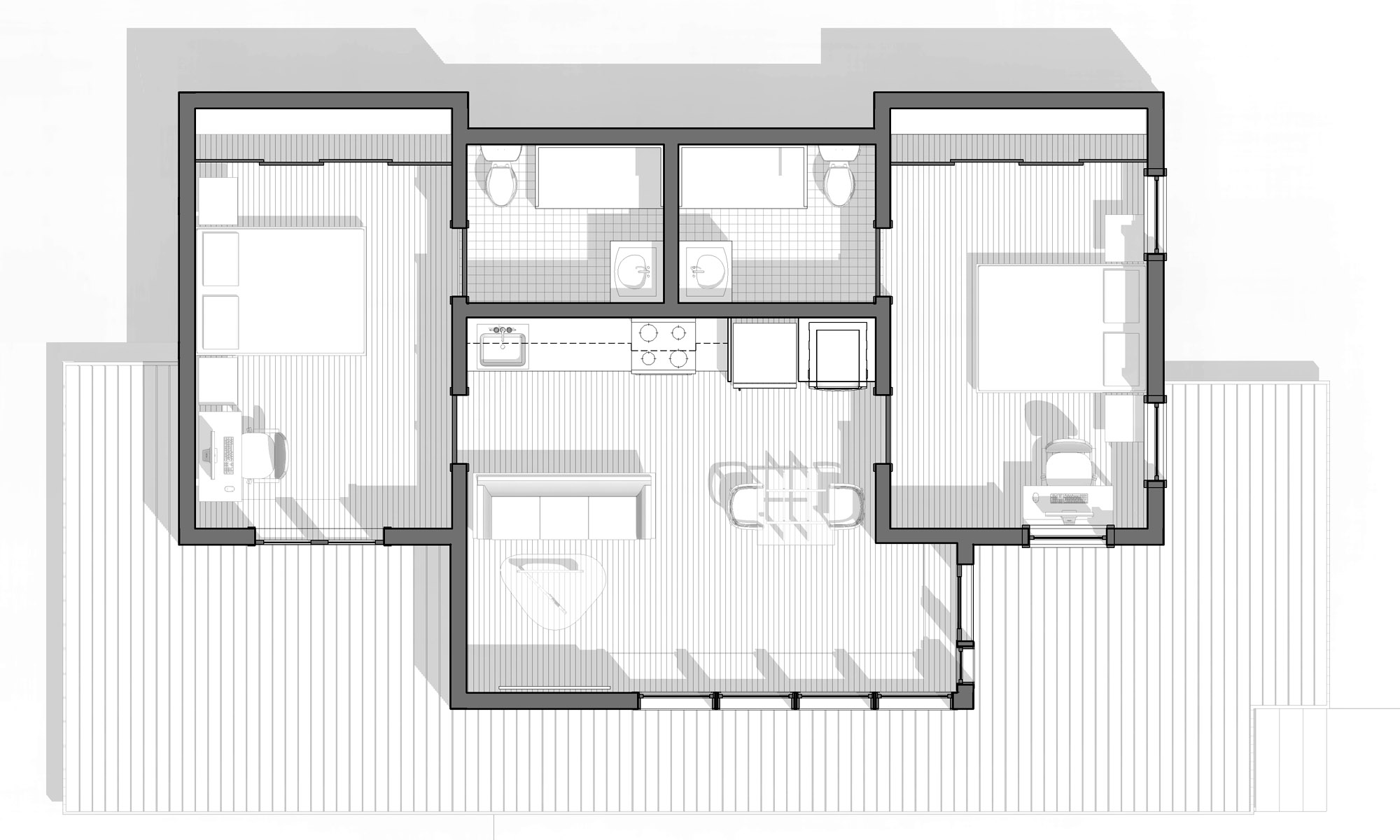 ADU Plan - A simple 2 bedroom, 2 bathroom design
