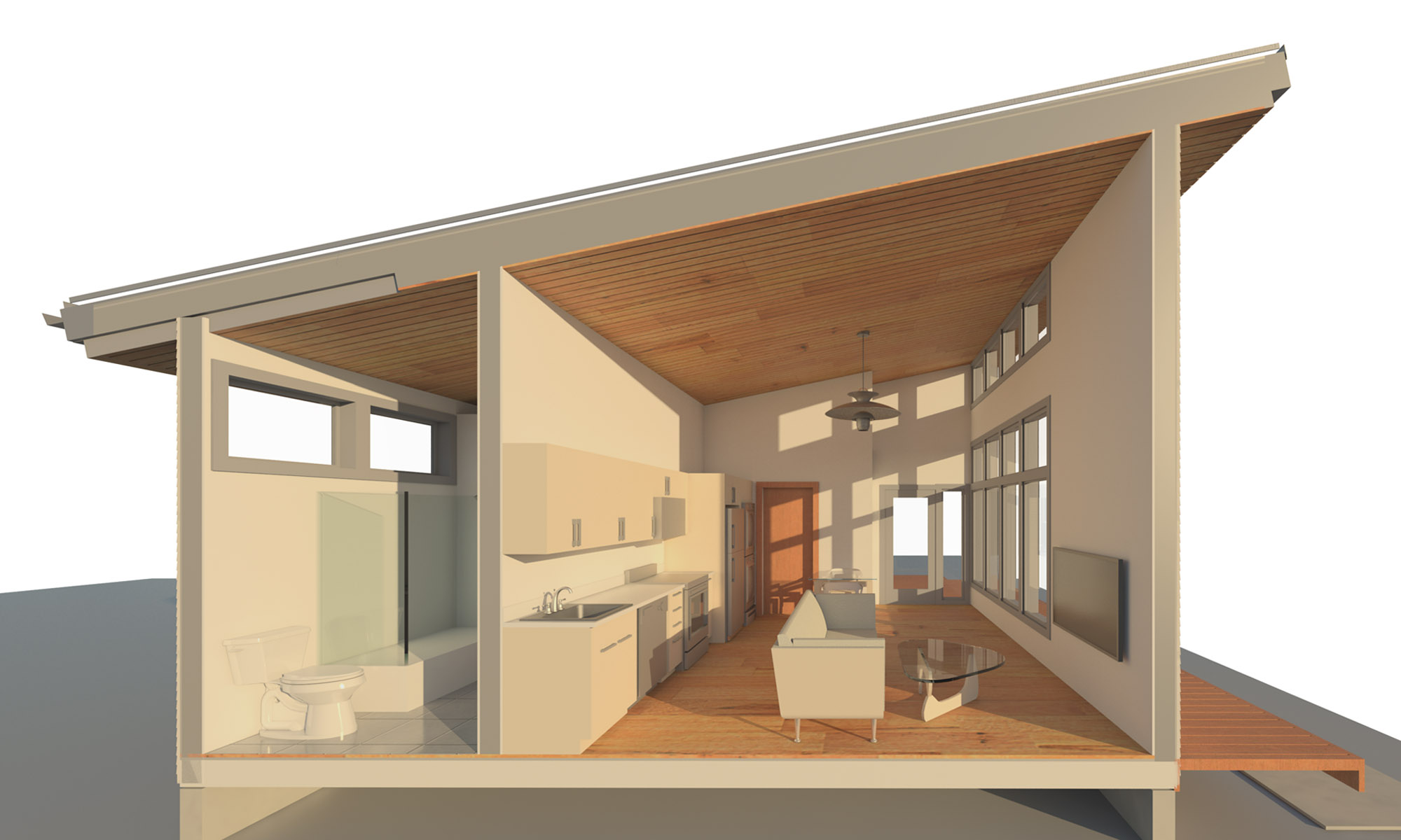 Section view of an Accessory Dwelling Unit (ADU)