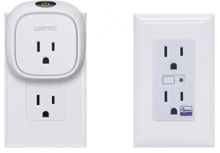 On the left is a conventional outlet with smart outlet plugged in.  Pictured right is a smart in-wall receptacle.