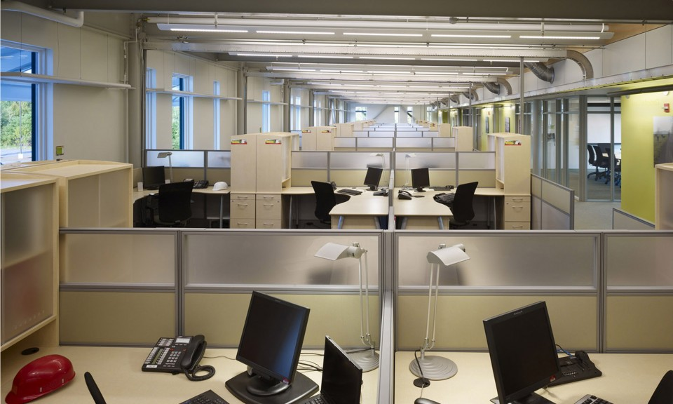 An open floor plan encourages collaboration but doesn't work for everyone, so a variety of shared public and more private spaces is encouraged.