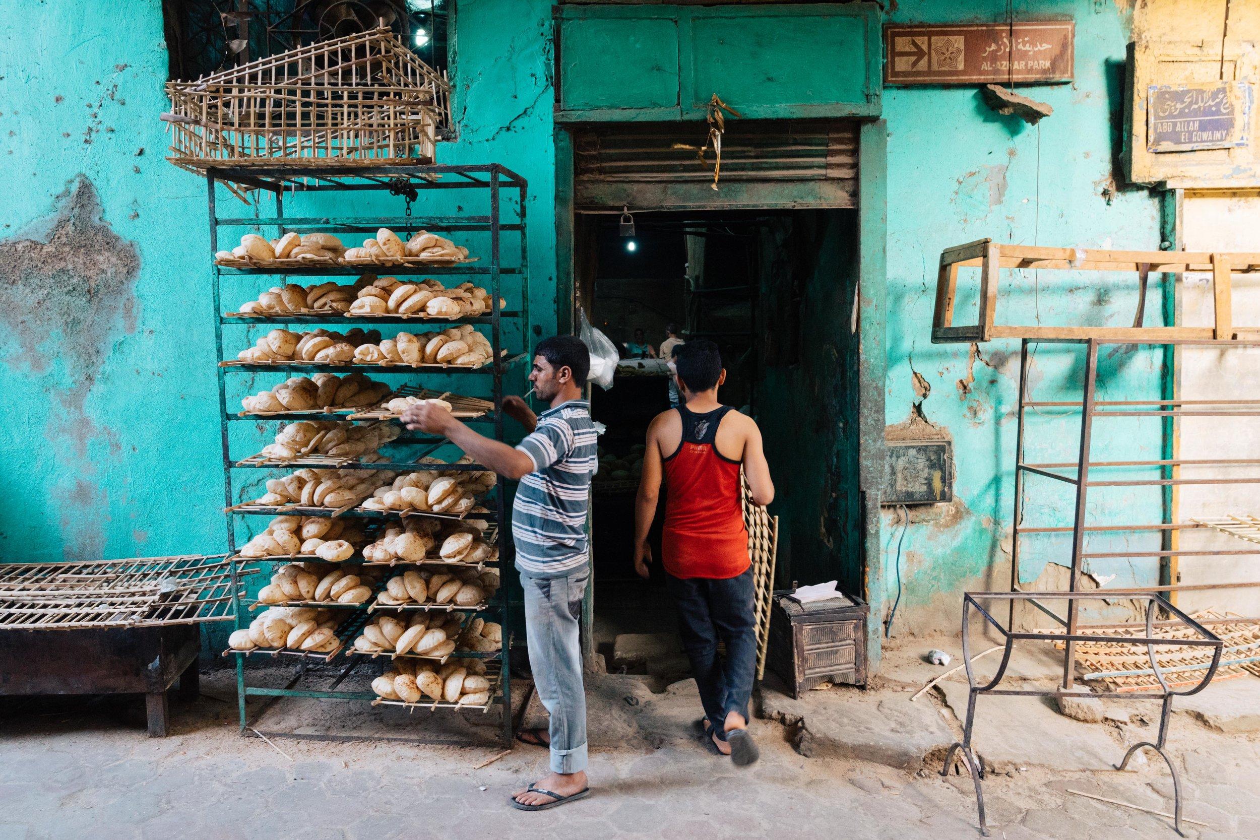 An aish baladi (flatbread) bakery