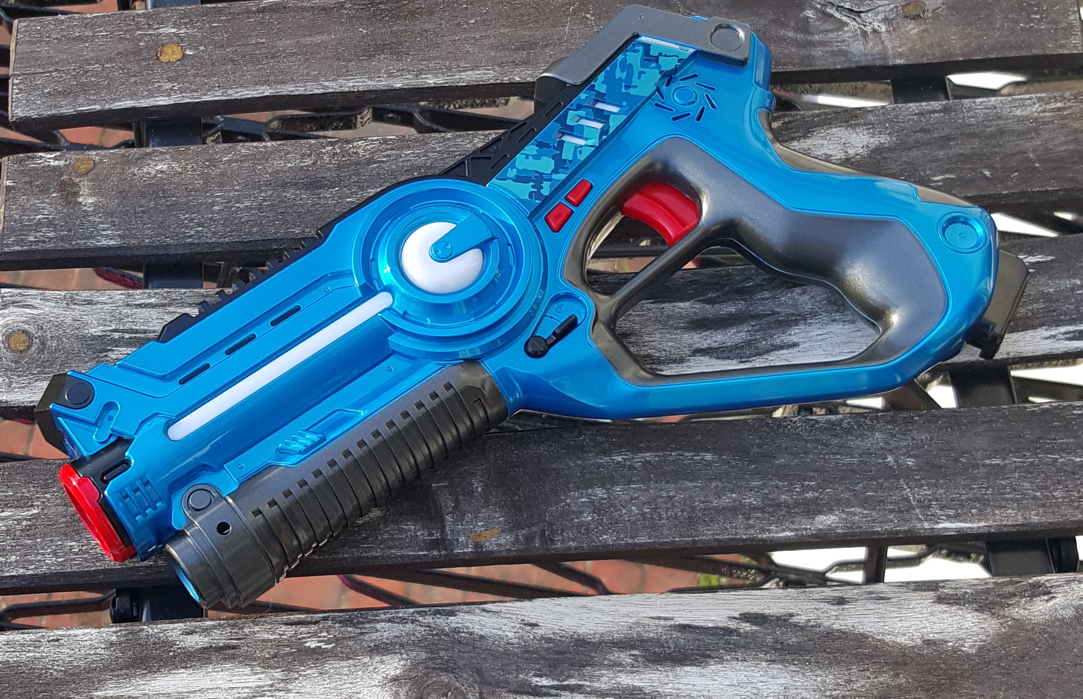 One of our laser Tag Blasters. Great for gameplay with up to 4 teams!