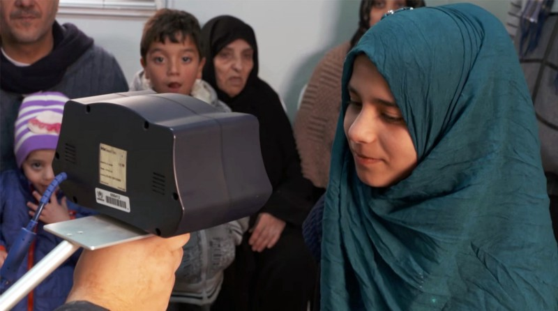 Iris scan of a syrian refugee at the Zaatari camp in Jordan. Pic by  Engadget