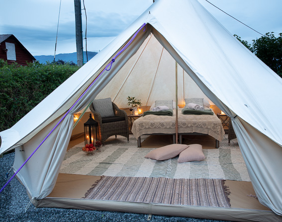 We have a nice Glamping tent available for booking. Itś including breakfast and you use bathroom in the house :)