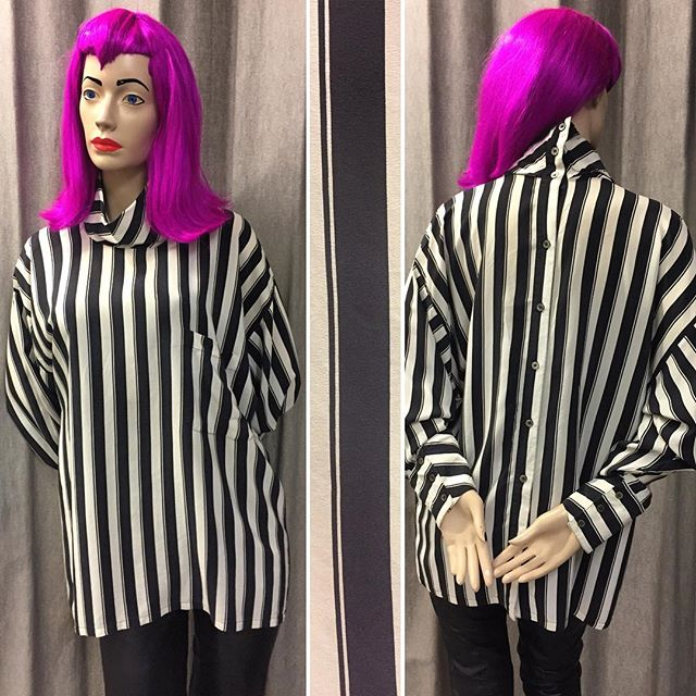 Gorgeous oversized striped silk blouse by 1980s fashion designer, Alistair Blair #blackandwhitestripes #silk blouse #alistairblair #stripeshirt #stripe #monochromeblouse #80sfashion #80sblouse