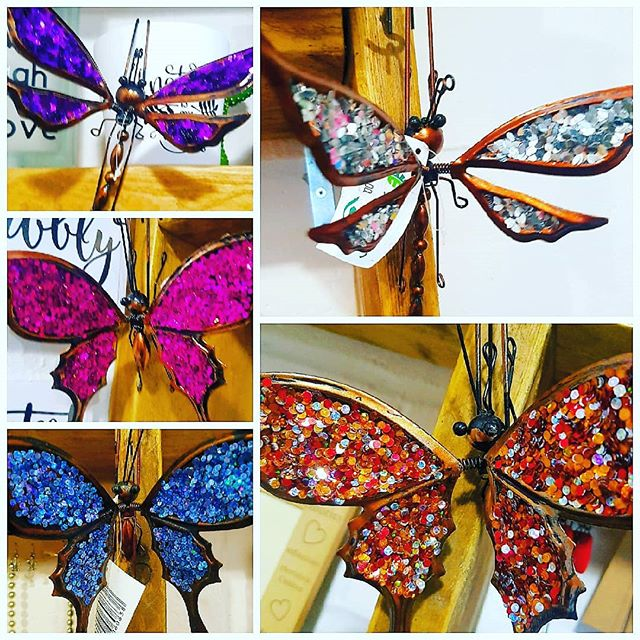 Colourful ornamental butterflies and dragonflies. Hang on flower pots or anywhere you want to brighten up. #butterfly #dragonfly #glitter #bling #homeandgarden #homedecor #walthamstowparents #walthamforest #gardens #flowerpot #walthamstow #London